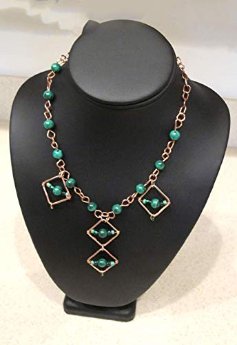 Copper and Malachite Necklace and Earring Set-It''s All Squares