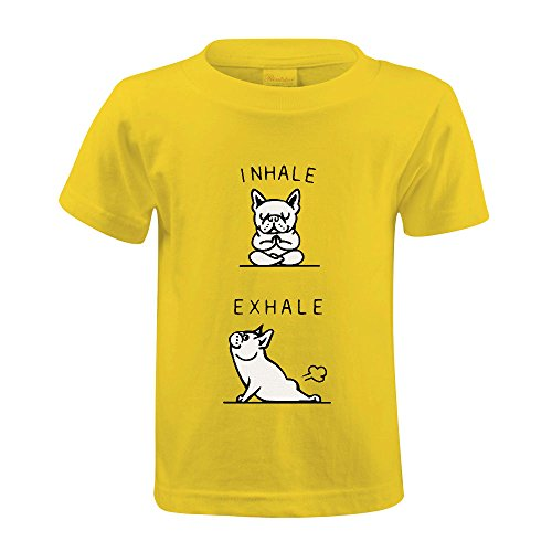 Chas Inhale Exhale Frenchie Girls Crew Neck Print T-shirt Yellow