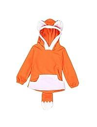 Flank Child Cartoon Design Fox Baby Hooded Boy Girl Jacket Outwear Coats Kids Clothing (Size:12M, Orange)
