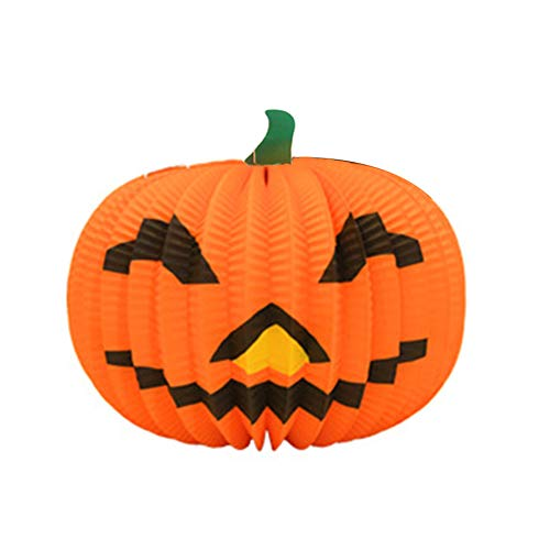 Aoruisier 1pcs Halloween Decoration Pendant Pumpkin Paper Lanterns Props Ghosts Supplies Haunted House Bar Disco Hanging Ornaments 26 X 21CM