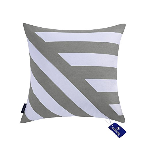 Decorative Pillow Covers Geometric Stripes 17 X 17 inch Cotton Canvas Handmade Cotton Printed Zigzag Striped Decor Silver Gray Bold Twisted Striped Decor Throw Pillowcase 1 PC 43x43cm Light Grey ()