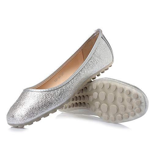 FLYRCX Zapatos Planos Antideslizantes cómodos Ocasionales Suaves de la Manera de Las Mujeres Zapatos de Las Mujeres Embarazadas Calzan los Zapatos Solos Silver