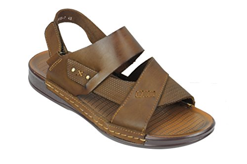 Mens Real Leather Sandals Adjustable Strap Open Front Slip On Walking Slippers Shoes Black Brown Brown 4tqt1MP