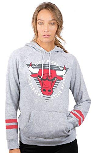 Ultra Game Women's NBA Soft Fleece Pullover Hoodie Sweatshirt With Varsity Stripe, Chicago Bulls, Heather Gray, X-Large
