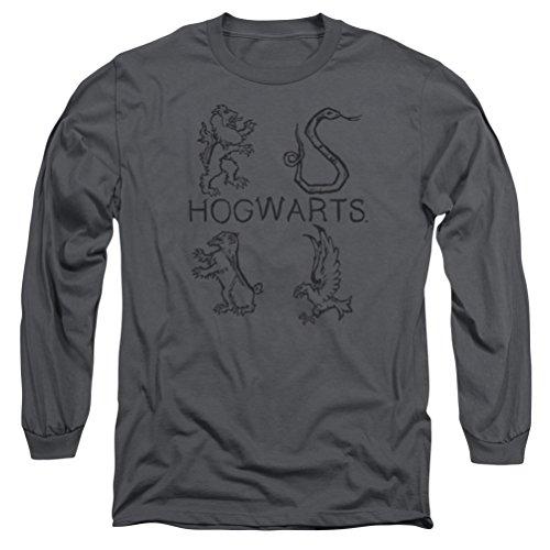A&E Designs Harry Potter Hogwarts Mascots Long Sleeve Shirt, Charcoal, ()
