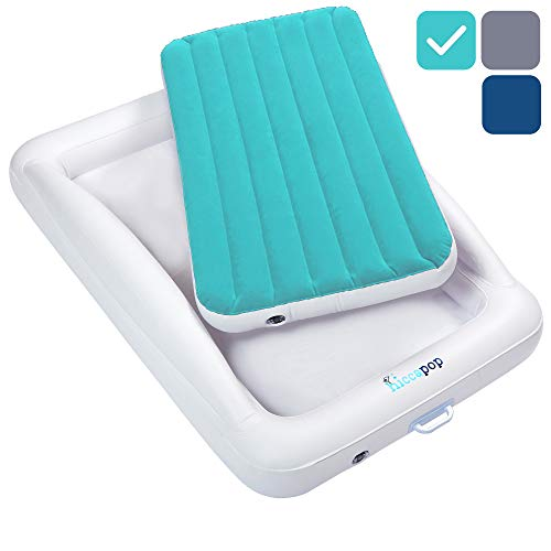 hiccapop Inflatable Toddler Travel Bed with Safety Bumpers   Portable Blow Up Mattress for Kids with Built in Bed Rail - Teal Blue