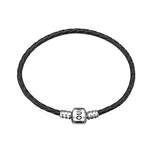(SOUKISS Genuine Black Leather Woven Bracelet with 925 Sterling Silver Barrel Snap Clasp Bead Bracelet for Charms (22 cm-8.7 inches))