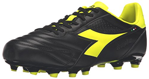 Diadora Men's Brasil LT MG 14 Soccer Shoe - Black/Fluo Ye...