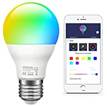 MINGER Smart LED RGB Light Bulb, APP Control Dimmable Warm and Cool White Bulbs, A19 60W Equivalent, Color Changing by Sync to Music, Timer for Sunrise and Sunset Mode