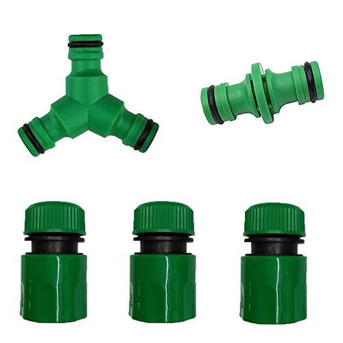 kungfu Mall 1Set Garden Hose Connector -1 PC 3 way Y Connector Water diverter Snap Hose Splitter +1 PC Double Male Hose…