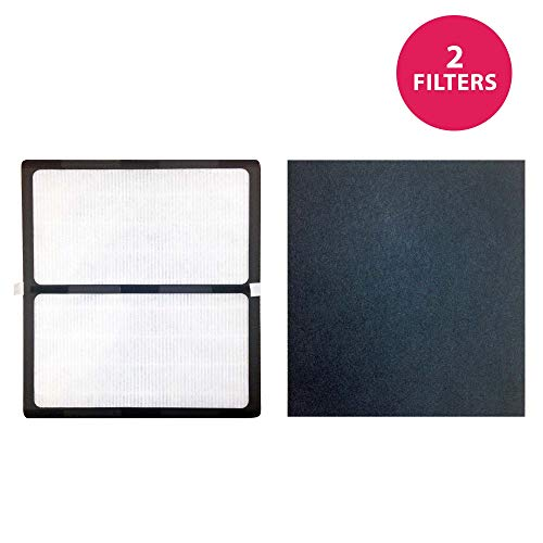 Crucial Air Replacement Filter Compatible with Idylis Hepa Style D Air Purifier Filter & Carbon Filter Part # IAF-H-100D, 302656, Filter Kit Fits Idylis IAP-10-280 Air Purifier Model - Bulk (2 Pack)
