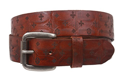 Snap On Oil Tanned Full Grain Fleur De Lis Embossed Vintage Retro Leather Belt Size: L - 39