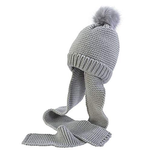 Gorrito Invierno Frio Que Cubre Orejas y Garganta Gorro Calido Ajustable y Calido para el beb/é Gorro Bufanda Punto con Pompom de Pelo para Bebes y ni/ños