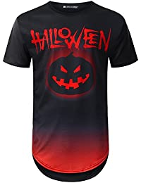 Mens Hipster Hip Hop Halloween Graphic Print Longline T-Shirt