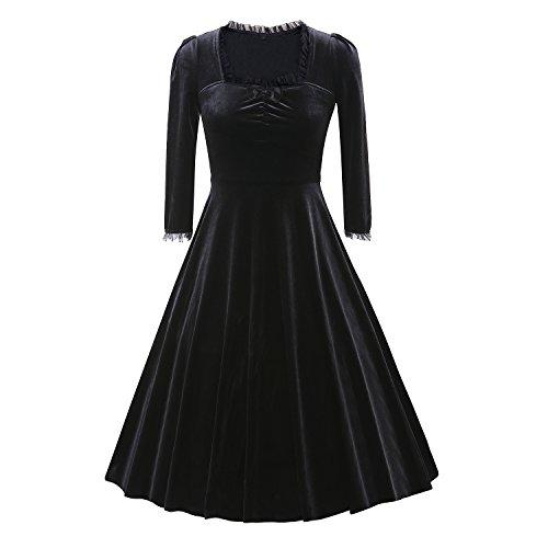 iLover Women 3/4 Sleeve Vintage Rockabilly Casual Swing Party (Looking Under Girl Dress)