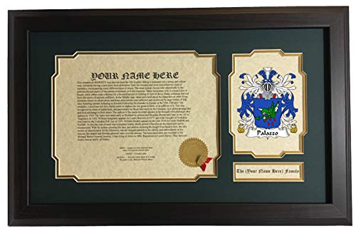 Palazzo - Coat of Arms and Last Name History, 14x22 Inches Matted and ()