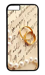 MOKSHOP Adorable Gold Wedding Rings Hard Case Protective Shell Cell Phone Cover For Apple Iphone 6 (4.7 Inch) - PC Black
