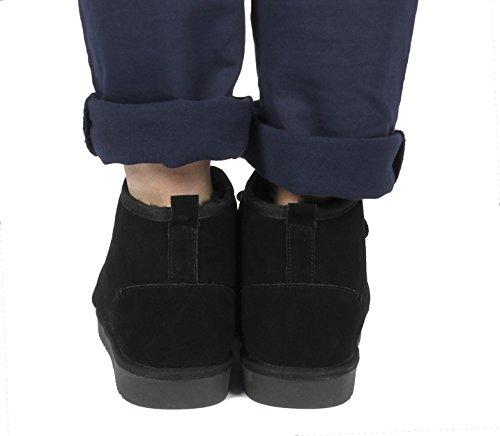 Pantofole Da Sogno Mens Mocassini In Pelliccia Di Montone Wolly-black