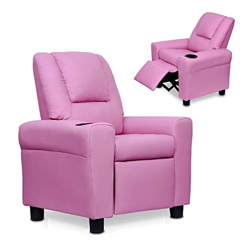 Windaze Kids Recliner Sofa PU Leather Comfortable Living Room Armchair with Cup Holder, Pink