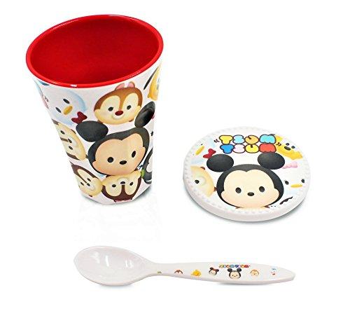 Princess Kida Costume (Finex Set of 3 - White Tsum Tsum Set - Cup, Lid, Spoon Kids Dinner Meal Dishes Feeding set for toddlers Microwave Dishwasher safe)