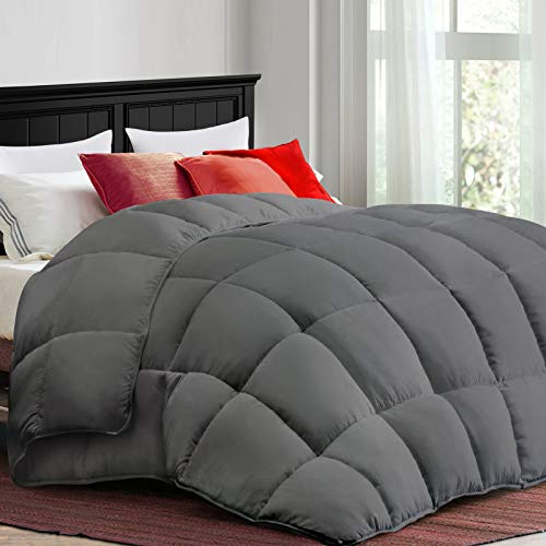 COONP All Season Queen Comforter Soft Quilted Duvet Insert with Corner Tabs, Filled with 3D Snow Down Alternative,Winter Warm,Machine Washable-88 x 88 Inches,White/Grey