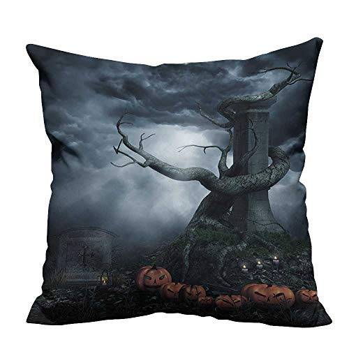 YouXianHome Pillowcase with Zipper Dead Tree and Halloween Pumpkins Ultra Soft & Hypoallergenic (Double-Sided Printing) 24x24 inch -