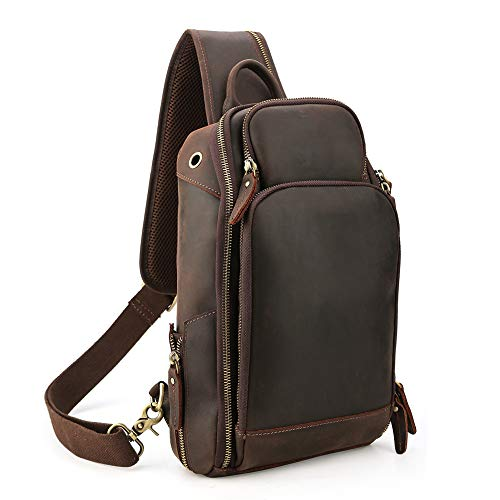 Leather Single Strap - Lannsyne Genuine Leather Sling Bag Chest Bag Crossbody Single Strap Backpack for Men with USB Charging Port