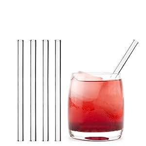 HALM Pajitas de cristal reutilizables ecológicas - 4 piezas de 15 cm + cepillo de limpieza ecológico - apto para lavavajillas - Sostenible - Pajitas de vidrio para cóctel, batido, smoothie