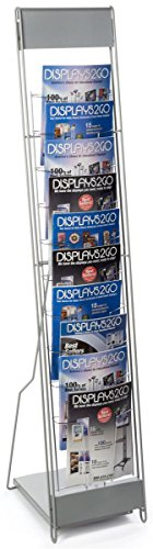 Displays2go Portable Literature Stand with 10 Pockets, Steel Silver (Office Magazine Rack)