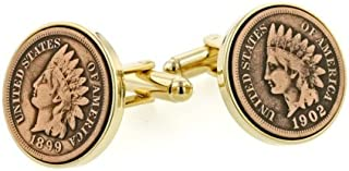 product image for JJ Weston Indian Head Penny Coin Cufflinks. Made in The USA.
