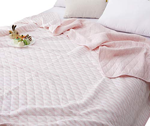 J-pinno Pink White Stripes Jersey Cotton Cozy Quilt Reversible Throw Blanket Bedspread Bedding Coverlet for Kids Boys Girls Bed Gift (Pink, Twin 59