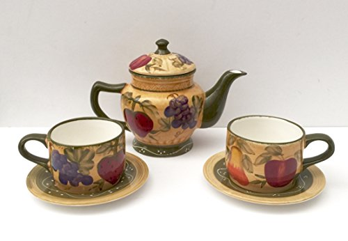 5 Piece Tea Service (Tuscan Collection Deluxe Hand-Painted 5-piece Tea Set)