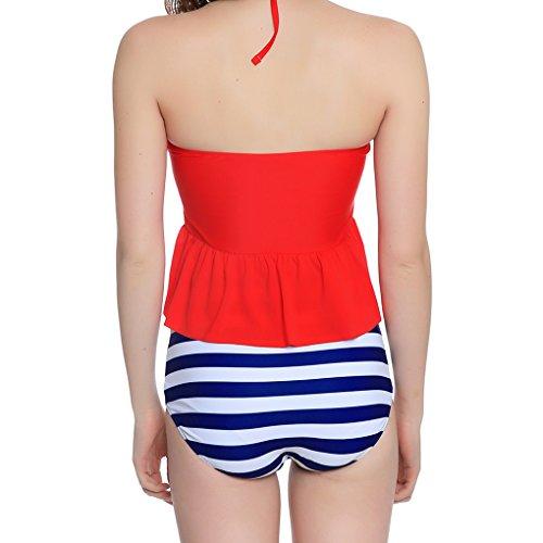 LUFA Frauen hohe Taille Streifen Halter Tankini Bikini Set Badeanzug Bademode Badeanzug