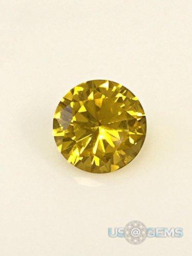 Sapphire Gold Yellow #22. Corundum Swiss. Round 8 mm. 2 ct. Lab created loose gemstone. (Heated Yellow Sapphire)
