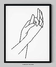 "Abstract Minimalist Holding Hands Line Wall Decor - 11x14"" UNFRAMED Print - Modern, Minimalist Black And"