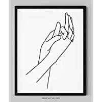 """Abstract Minimalist Holding Hands Line Wall Decor - 11x14"""" UNFRAMED Print - Modern, Minimalist Black And White Drawing - Love Wall Art"""