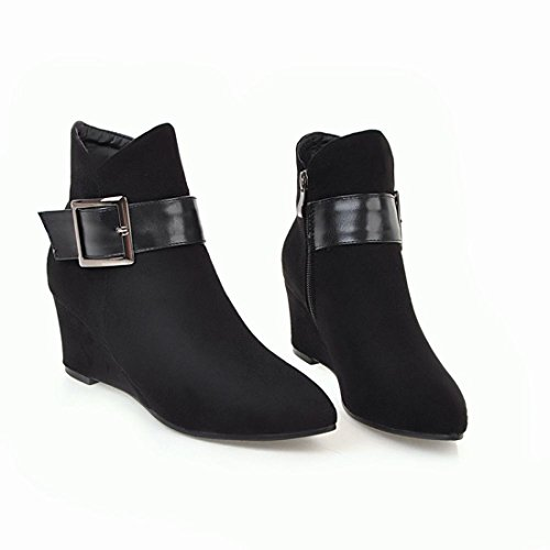 Ankle Boots Elegant Heels Wedges Toe Buckle Zip Womens Agodor Leather With Pointed Mid Black Shoes Nubuck 0xpYHaawnq