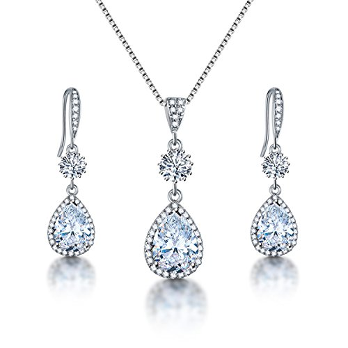 AMYJANE Bridal Jewelry Set for Wedding - Teardrop Silver Cubic Zirconia Crystal Drop Earrings and Necklace Set for Bride Bridesmaids Mother of Bride Prom Party