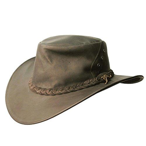 Kakadu Australia Darwin Traveller Leather Hat-Kangaroo Leather Made in Australia Brown (Kakadu Hat Leather)