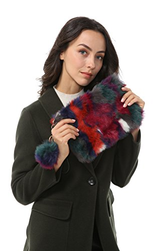 Phone and Wallet Color03 Bag Clutch Faux Fashion Purse Dikoaina Handbag Fur Women Lady Evening zqSxw80f