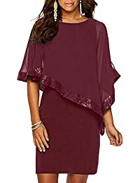 Ancapelion Sequined Overlay Party Dress Chiffon Poncho Pencil Cocktail Mini Dress