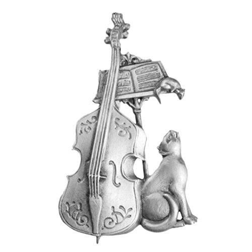 Cat Cello and Mouse Pin in Pewter