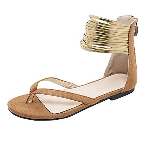 (Xinantime Women's Flat Sandal Suede Open Toe Shoes with Back Zipper Wedding Dress Party Women Shoes Brown)