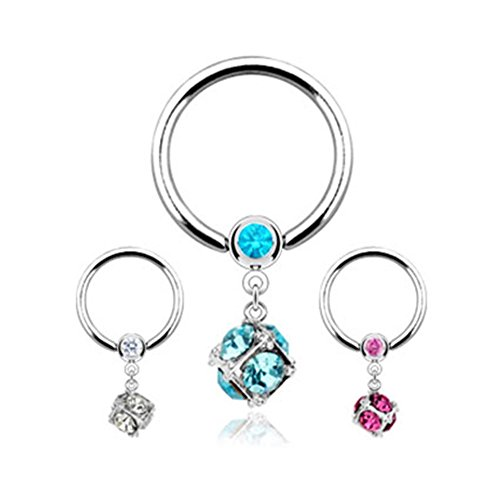 MsPiercing Captive Bead Ring With Dangling Jeweled Square, Clear (Bead Captive Ring Square)