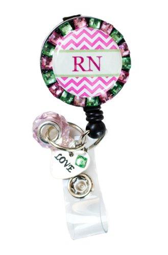 - New Custom Bling RN Chevron Rhinestone Badge Reel Retractable ID Badge Holder w/ Jewel Accent & Custom Charms (Green & Pink w/ Love Charm)