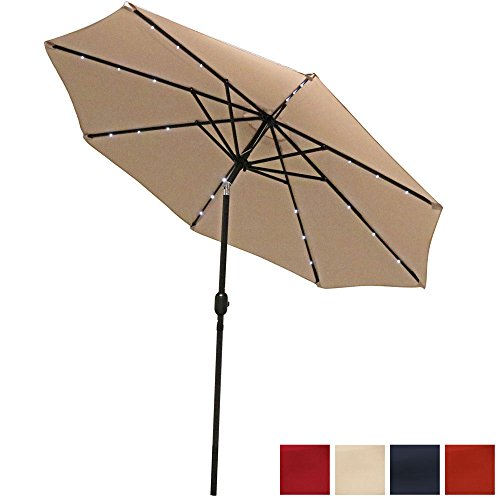 Sunnydaze 9 Foot Solar Powered LED Aluminum Patio Umbrella with Tilt & Crankt, Beige (42 Patio Table Tall)