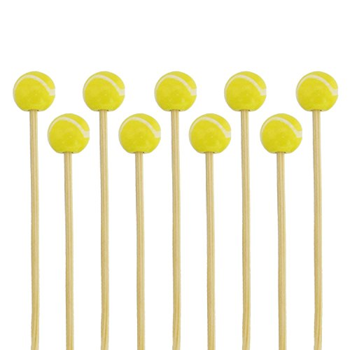 "BambooMN 5.9"" Decorative Sports Ball End Bamboo Cocktail Fruit Sandwich Picks Skewers for Catered Events, Holiday's, Restaurants or Buffets Party Supplies, Tennis, 100 pcs"
