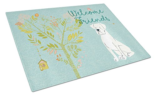 Caroline's Treasures BB7580LCB Welcome Friends White Boxer Chopping Board, Large, (Board Boxer Cutting)