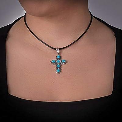 925 Silver Sleeping Beauty Turquoise Cross Pendant Enhancer