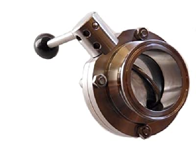"3"" Bore Sanitary Butterfly Valve with 3"" Tri Clamp Fittings and Pull Handle from Emerald Gold"